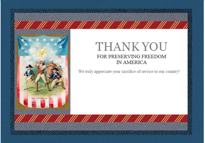 4th of July thank you card