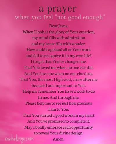 a prayer for when you feel not good enough