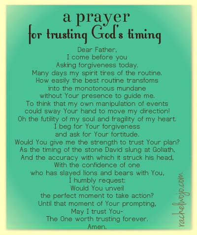 trusting God's timing