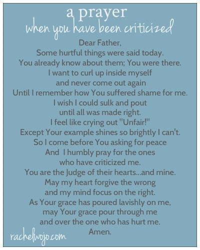 prayer for criticism