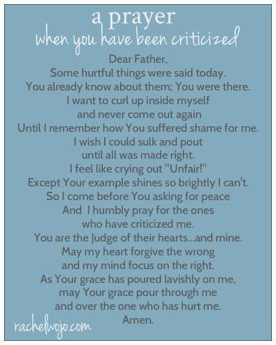 prayer for criticism