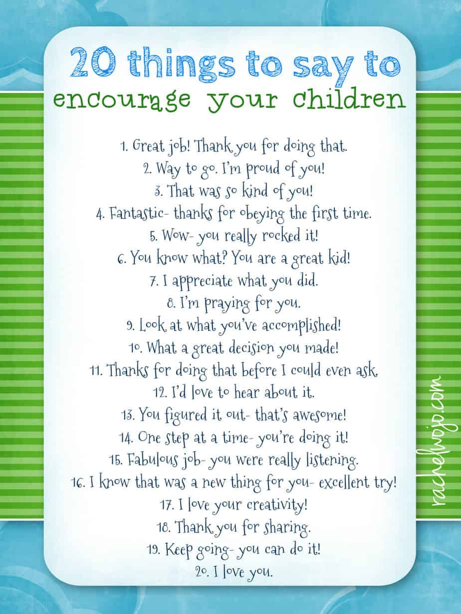 Encourage Your Children Printable - RachelWojo.com