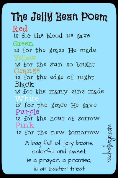 picture regarding Jelly Bean Prayer Printable known as Jelly Bean Poem Easter Reward -