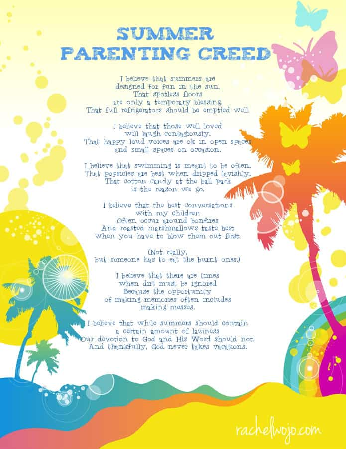 summer parenting creed printable