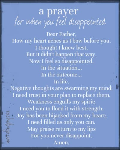 prayer for when you feel disappointed