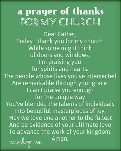 a prayer of thanks for my church