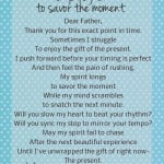 prayer to savor the moment