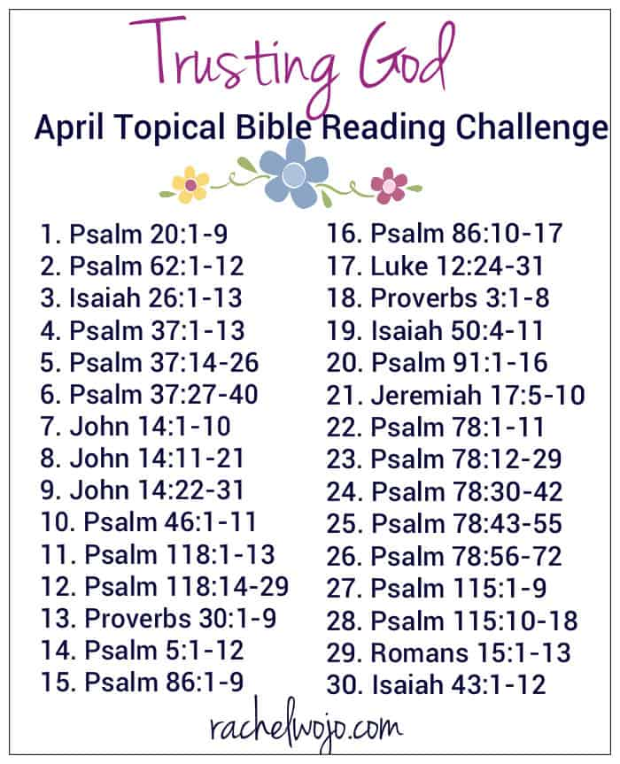 Trusting God April Bible Reading Challenge