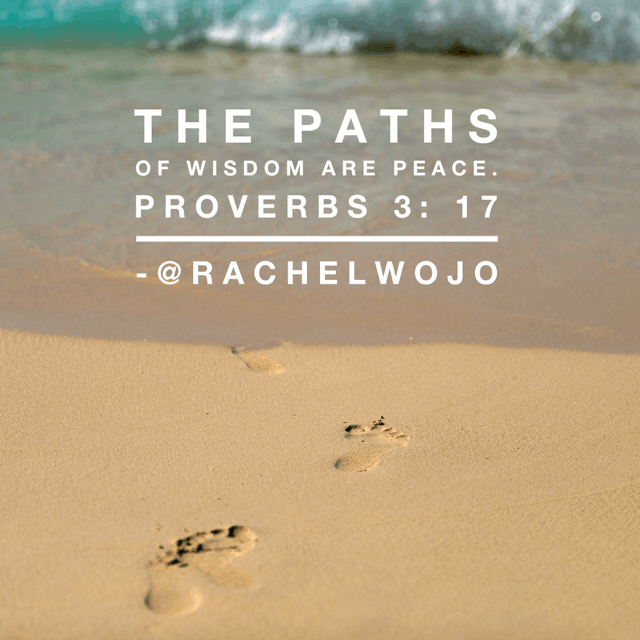 Where wisdom walks, the path is peaceful...another beautiful reason Solomon encouraged his son to seek wisdom above all else #perfectpeace #biblereading #onemorestep