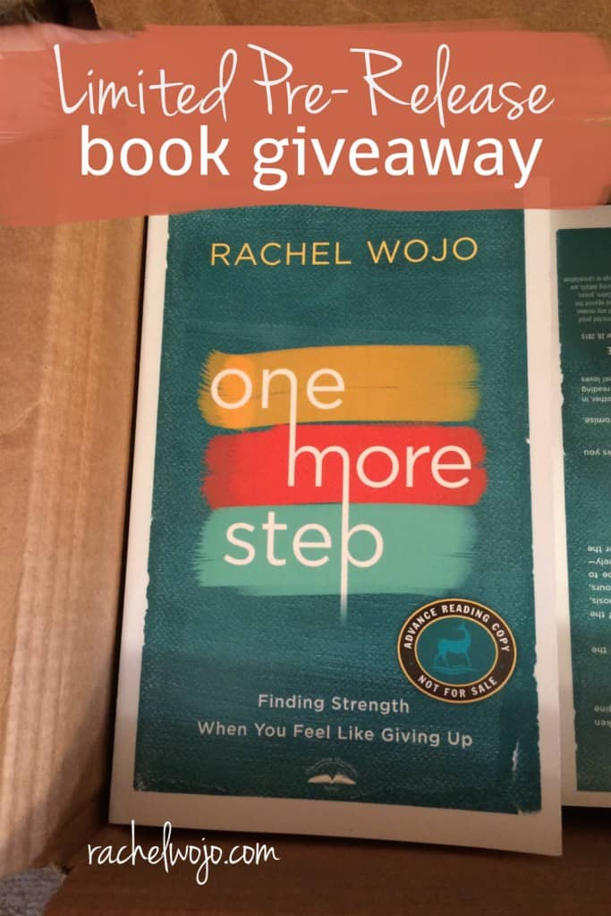 Are you struggling through out-of-control circumstances? Where do you turn when discouragement strikes? How can you learn to process feelings of despair? If you'd love the answer to any of these questions, then my new book, One More Step: Finding Strength When You Feel Like Giving Up, is for you!  Don't miss this limited pre-release giveaway!