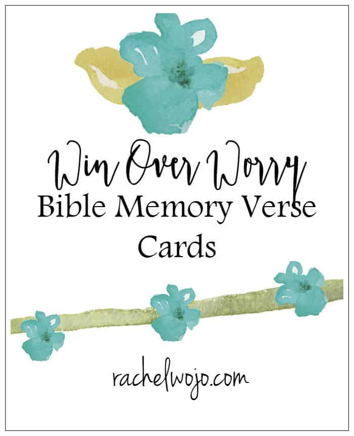 Want to Win over Worry? Enjoy this free printable set of Bible memory verse cards and do just that! No printer? No problem. Create a new photo album on your smartphone, then screenshot each graphic to your phone for a sweet way to memorize God's Word wherever you are!
