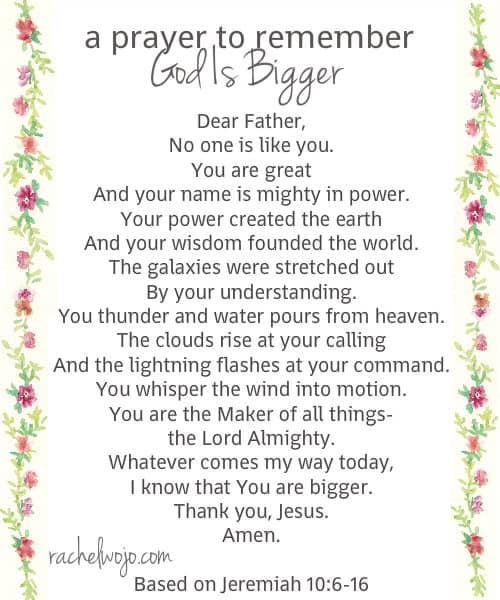 a prayer to remember God is bigger prayer