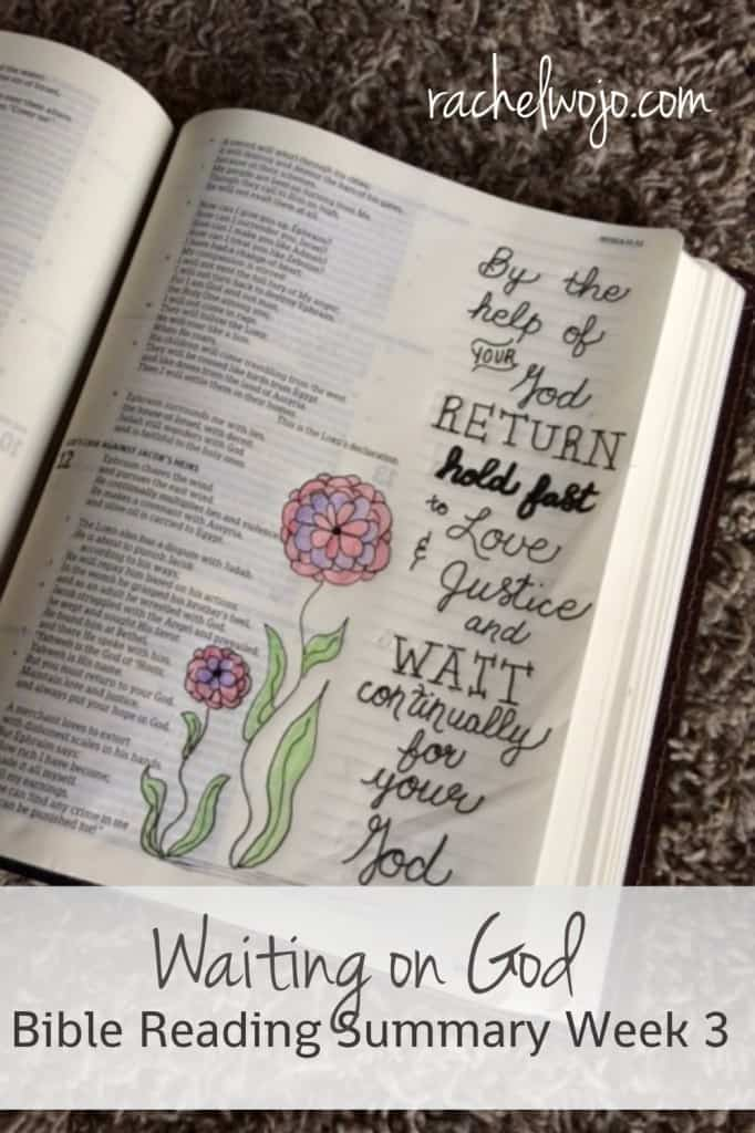 Welcome to the Waiting on God Bible reading summary week 3. I don't know about you, but I surely felt like God was teaching me so much this week about waiting on him to move. Let's take a peek at what I've been learning and I hope you'll share too!