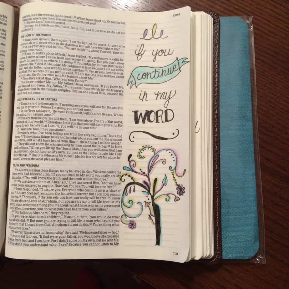 If you continue in my Word... That's a beautiful way that he guides us- through his word. That's why we've got to stay close to it- abiding in it. Need guidance? Get in the Word of God and let him lead. #onemorestep #gentlyGodGuides #biblereading #biblejournaling