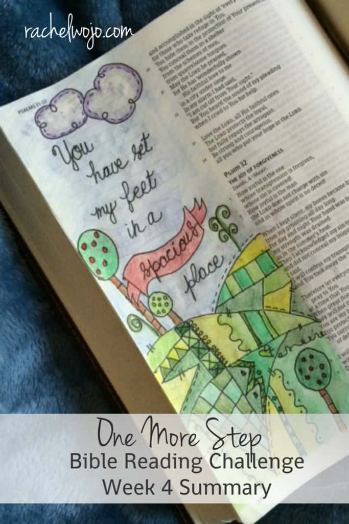 Hey there! We're on the One More Step Bible Reading Summary Week 4! How has your reading gone this week? It's Friday; let's check out the summary for the week! #onemorestep