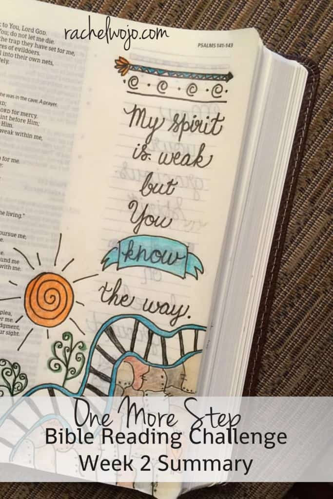 Check out the week of Bible reading summary and Bible journaling for the One More Step Bible reading challenge! #onemorestep