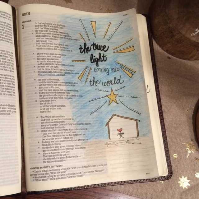 The Word was God. And then became man in the form of a baby. That was the true light who gives light to everyone. He came into the world. Extravagant yet straightforward. That's the beauty of the light. John 1:1-9 #thelight #biblereading #biblejournaling