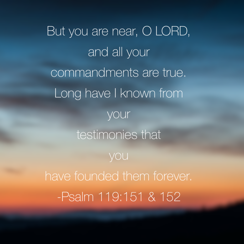 Whenever the nearness of God seems distant, he is still near. He didn't promise that he would be with us for only a moment or day or season. His promises are true! This morning I'm so very thankful that he is near and he is never-changing! Last day of our #inhispresence #biblereadingchallenge. Tomorrow begins #truelove