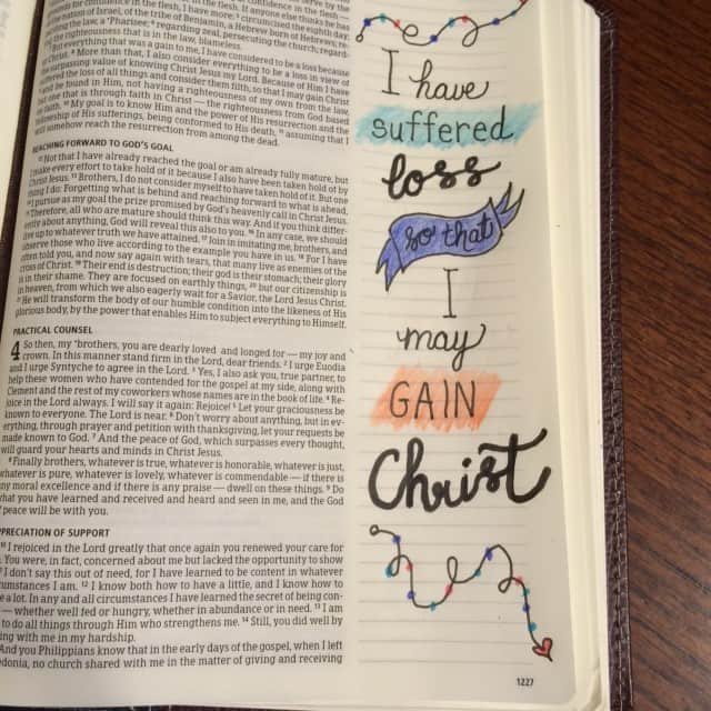 """This isn't my best artwork but the truth is that my time to journal was interrupted. One of my kids needed to talk. So the concept of this verse is still soaking in. Verse 10: """"My goal is to know him and the power of his resurrection and the fellowship of his sufferings."""" I'm with ya, Paul. #inhispresence #biblejournaling#biblereading Philippians 3:8-12"""
