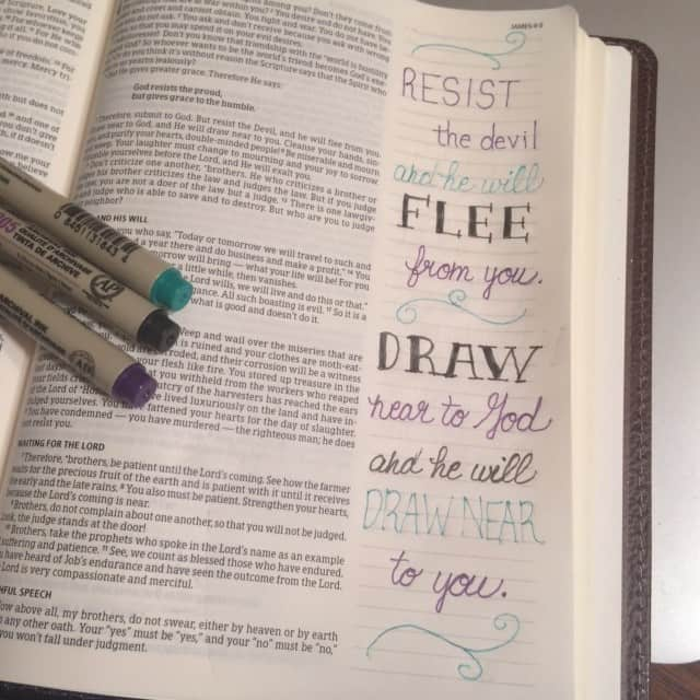 James reminds us that the war without- the war we see in this world- all stems from the war within. By drawing near to God, we defeat the enemy who cannot stand God's presence. Jesus, may we grow closer to you each day. #inhispresence#biblejournaling #noteworthytruth#biblereading