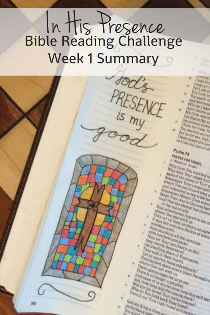Hey Friends! We've arrived at our weekly check-in day; Friday is when we take a look at what we've read in our monthly Bible reading plan so far. I have LOVED this plan. Let's take a look at the In His Presence Bible reading summary week 1.