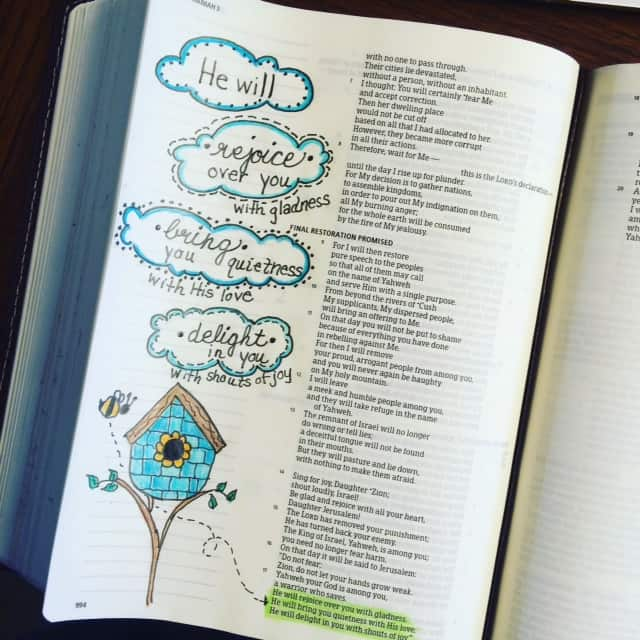 He will bring your quiet with his love and delight in you with shouts of joy! #TrueLove #biblereading #bibleartjournaling #noteworthytruth #biblejournaling