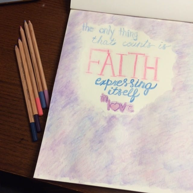 I've been stuck on this verse today. All day. It was a personal reminder to me today. Galatians 5:6b Artists beware! This was my first try at using watercolor pencils. Ever. A. I do not foresee ever using these in my journaling Bible. The pages are thin and I want to be able to see every page in my Bible. That's just me! B. I don't have a ton of patience. So this was a test and I rushed. Every creative knows you can't rush the process. But this allowed me to push beyond my current scope of knowledge and try something new. There is always something thrilling about that.#bibleartjournaling #biblereading #truelove#noteworthytruth