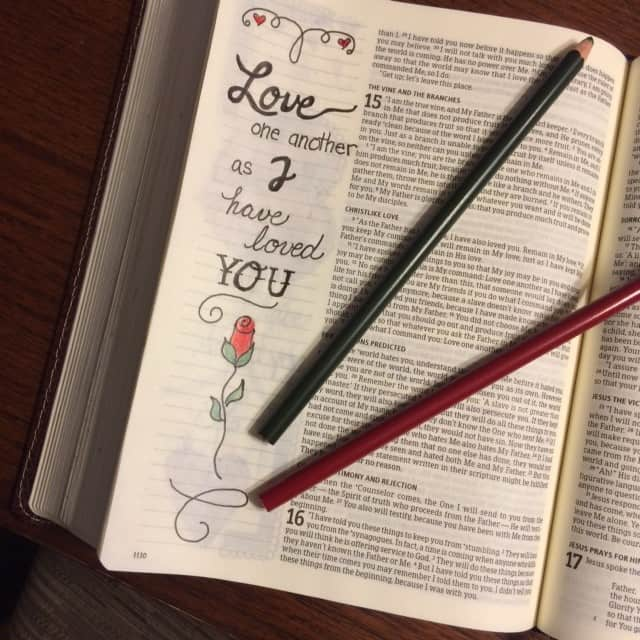 As the Father has loved me, so have I loved you. Abide in my love.... John 15:9 #truelove #biblejournaling#bibleartjournaling #illustratedfaith#noteworthytruth