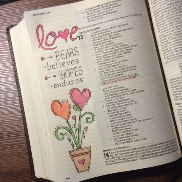 It was so difficult to choose just one phrase from the first 7 verses of 1 Corinthians 13! So much to meditate on.#truelove #biblereading #biblejournaling#bibleartjournaling #noteworthytruth#illustratedfaith Tomorrow is the last day of the True Love Bible reading plan. Tuesday we will begin the #genuinefaith plan!