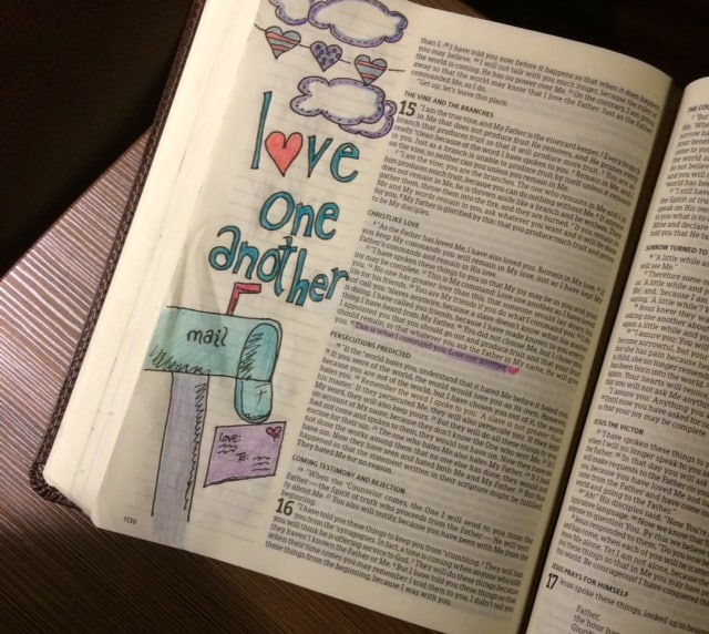 Just that simple. #truelove#biblejournaling #bibleartjournaling#illustratedfaith #noteworthytruth