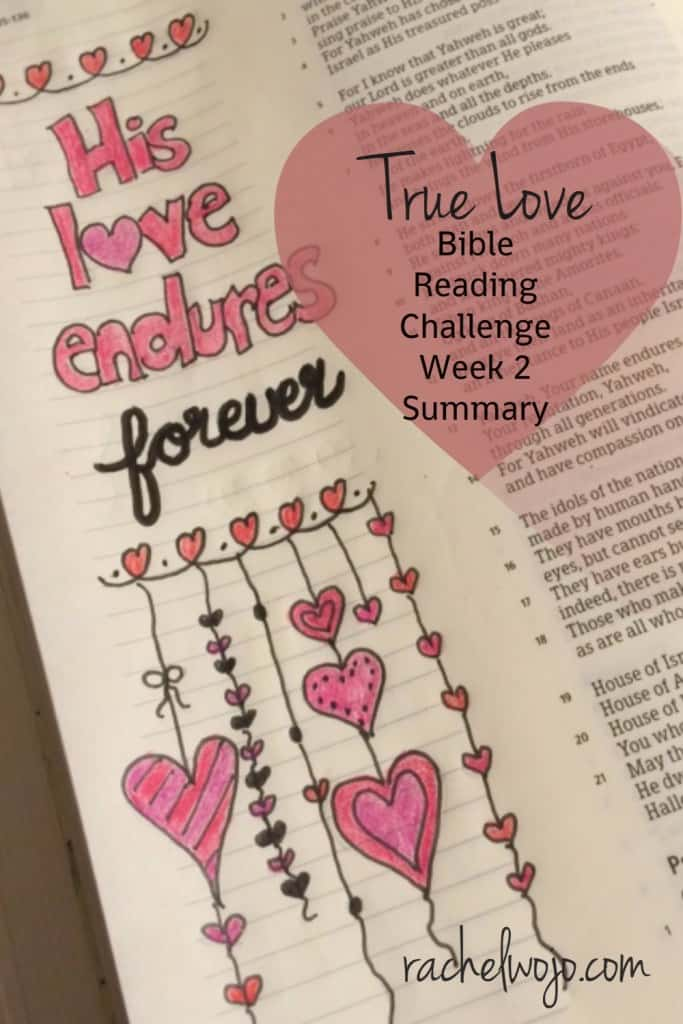 Hey there! Thanks for joining in for the True Love Bible Reading Challenge week 2 summary! I'm thrilled that you are reading along and some of you are Bible journaling along; isn't it so cool to read God's letter of love to us each day? Let's check out the summaries from this week: