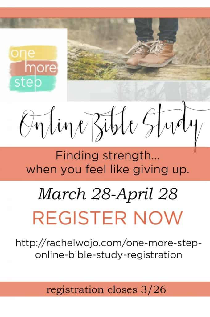 Are you struggling through out-of-control circumstances? Where do you turn when discouragement strikes? How can you learn to process feelings of despair? If you'd love the answer to any of these questions, then this online Bible study, One More Step: Finding Strength When You Feel Like Giving Up, is for you!