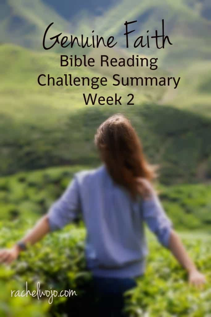 Well, it's Friday and here we are with the Genuine Faith Bible Reading Challenge Summary Week 2. Hasn't this Bible reading plan been so great? I've loved every single day of the plan!