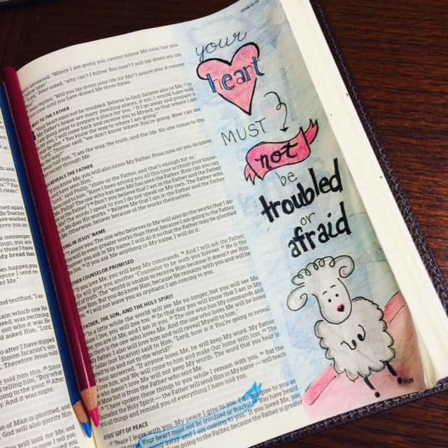 "For some reason this sheep was in my head the whole time I lettered the words on this Bible journaling page tonight. And I think it might be because I've tried counting sheep many a night. Not sleeping due to fear, I failed to rest in the love of Jesus. He said ""The Holy Spirit will remind you of everything I have told you."" Let our hearts be reminded of John 14:27. Rest well! #nofear"