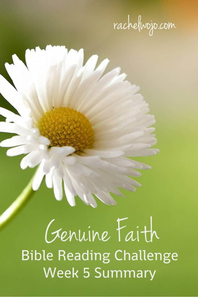 Welcome to the Genuine Faith Bible Reading Challenge Summary Week 5! I'm amazed at how God's Word is fresh and current each and every day of the reading. You'll find the daily postings from the last week below. Enjoy! #genuinefaith