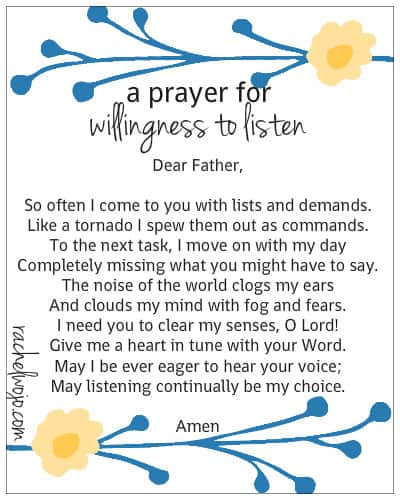 a prayer for willingess to listen