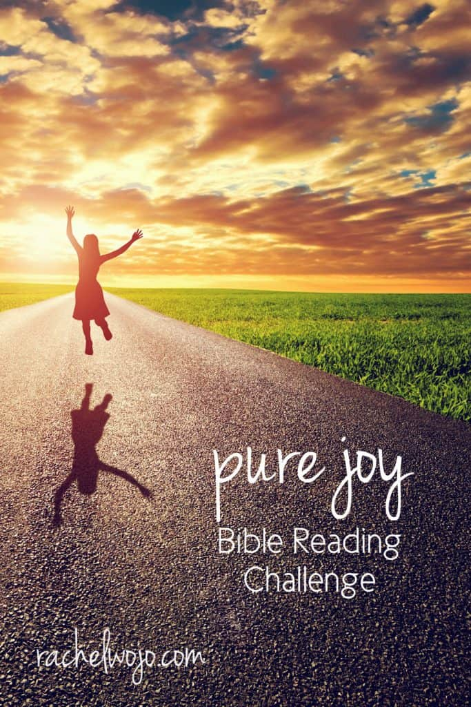 Welcome to the Pure Joy Bible reading challenge! If you've never joined a Bible reading challenge here before, each day we follow the plan and read the passage. You can share what you are learning on social media or just keep it between you and God. My goal through the reading is to draw closer to Jesus, and I want that for you too!