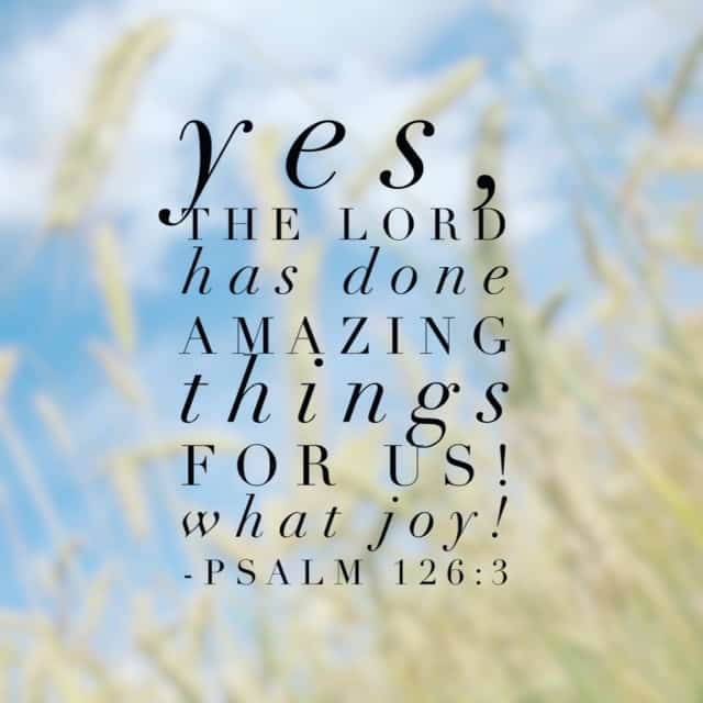 This month we've been focused on #purejoy for the daily #biblereading. And while it's been struggle on some days to live joyfully, to do joy because joy lives in us, we can always look back on what God has done. In total amazement. What has God done in your life that puts a song in your heart? Psalm 126 seems the perfect way to end this month's challenge.