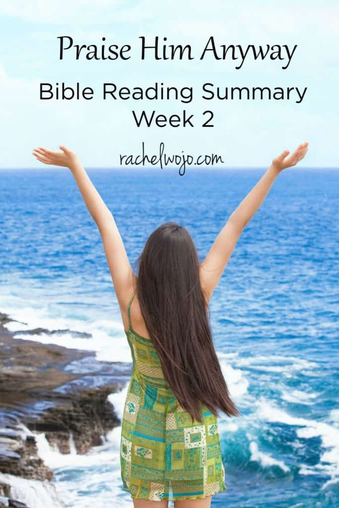 Welcome Friends! I'm only one day late on this week's Bible reading challenge summary instead of three! I hope you had a great week; ours was jammed full of back to school preparation. I am loving the wonderful Scripture praise reminders for each day in this monthly Bible reading plan. Let's check out the Praise Him Anyway Bible reading summary week 2! Ready?