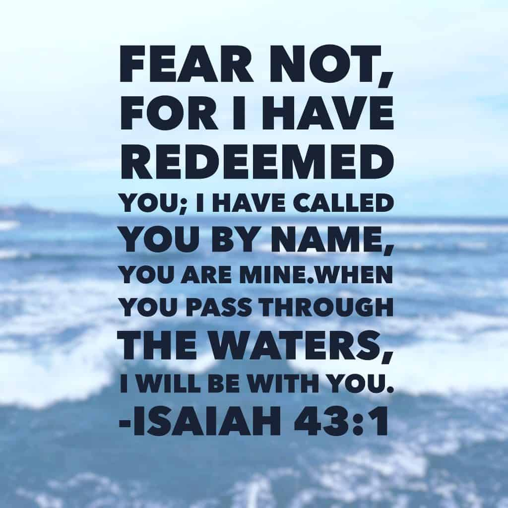 When you pass through the waters, I will be with you. The presence of the Lord provides peace, even in the most difficult times. You are redeemed and there is no need to fear. Whatever waters you face today, he is right beside you.#neveralone #biblereading