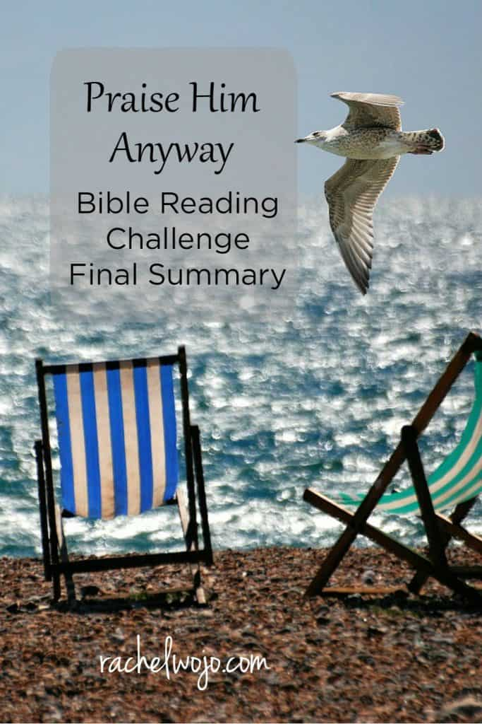 Welcome to Friday and our weekly Bible reading summary! I hope you had a great week. Yesterday we began the Never Alone Bible reading plan. If you missed it, you'll find all the information at the bottom of this post in the resource section. We need to take a peek at the Praise Him Anyway Bible Reading Challenge Final Summary before we keep moving on with the new plan. I think the August Bible reading plan was one of the most personally challenging that we've read through together! Enjoy a few of my thoughts on this week's reading and I'd love to read about yours in the comments.