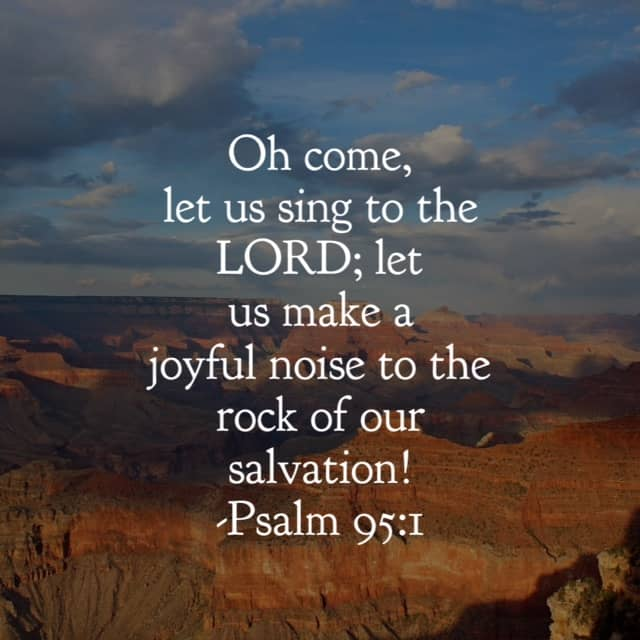 """Let us sing to the joy of#ourGodtheRock this morning! I just stopped and said """"Thank you, Lord, for saving me."""" Because the gift of salvation is one we can always be thankful for!#biblereading"""