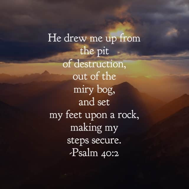 Destruction comes in all forms. Self-induced. Inflicted by others. Sin in the world. But our God reigns above the destruction. Through the blood of Jesus, we can stand on the Rock of our salvation, unwavering and unmoving. I've trekked through some miry bogs and I'm guessing you have too. The enemy longed to trap me and entangle my feet from taking even#onemorestep. But our God drew me up. And he will do the same for you!! He is#ourGodtheRock #biblereading
