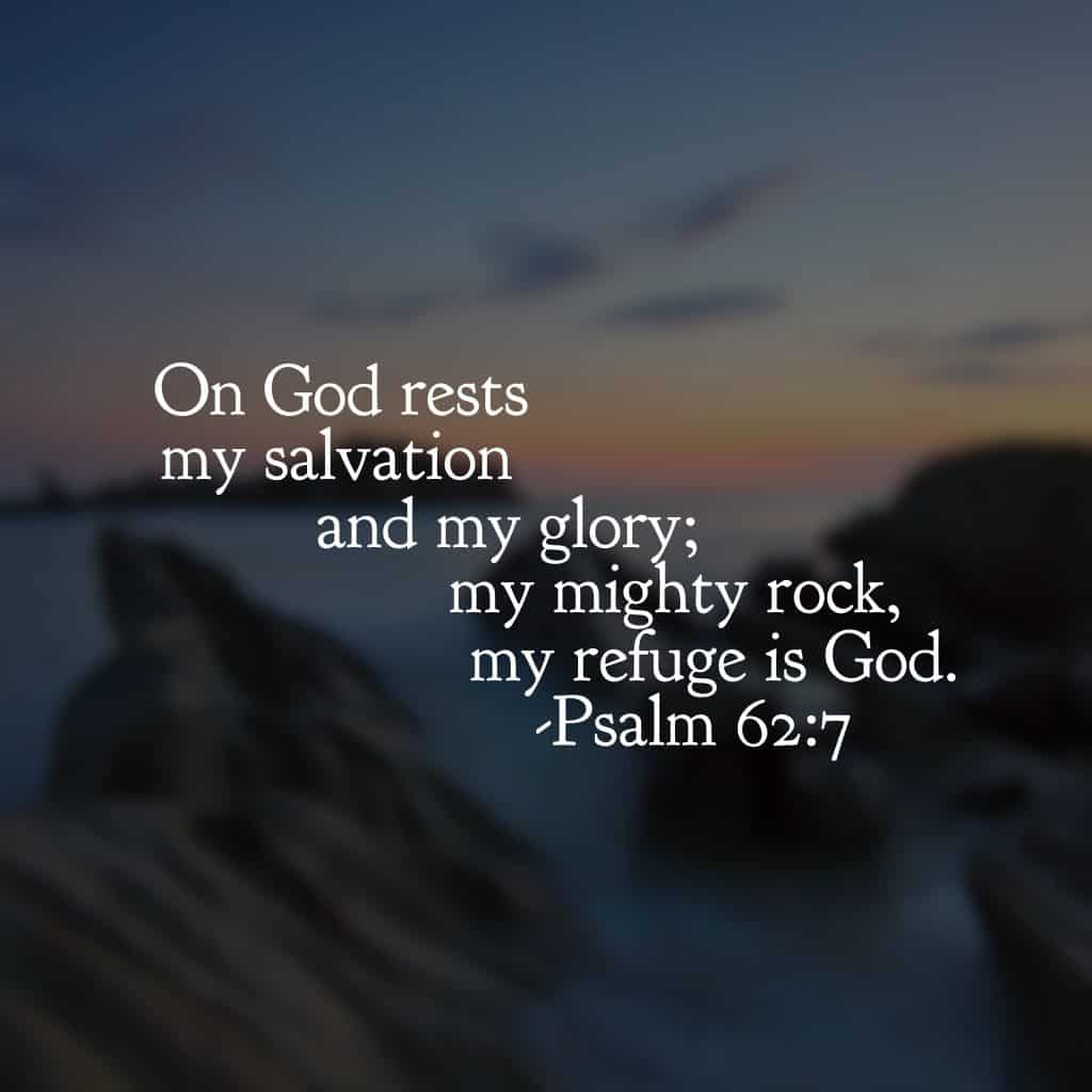 It's easy to search for places to rest in this weary world. But the psalmist figured it out long ago. God alone is our refuge. He alone is our place to rest. He alone is our salvation. He alone is our glory, for without him we can do nothing.#ourGodtheRock #biblereading