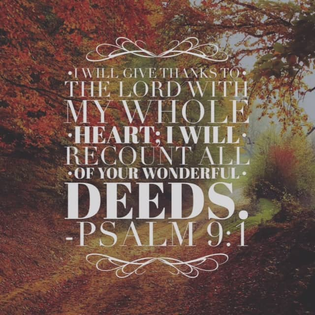 Recount his wonderful deeds. I've found that when I do this, when I remember and focus on all God has done for me, then I am whole-hearted for him.#withthanksgiving #biblereading
