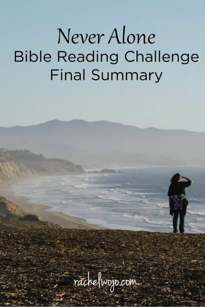 Friday already! Wow and yes, September has ended; we completed the Never Alone Bible reading plan. Do you believe God is with you and did you enjoy the daily reminders from his Word that he is always with us? I sure did. Let's check out the Never alone Bible reading summary week 4!