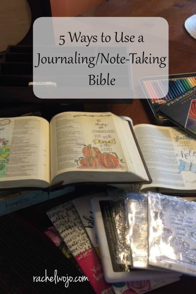 Tomorrow evening I'll be teaching a beginner's Bible Journaling workshop and as I prepared the material and finalized the agenda, I was thinking about the many ways to use a journaling Bible. Journaling Bibles come in all shapes, sizes, and versions, so I made a trip to Lifeway today to check out the latest publications. Here are 5 ways to use a journaling Bible that I believe will enhance your Bible study time. Ready?