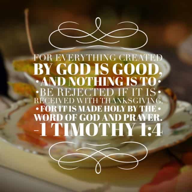 Everything created by God is good and for this, we give thanks. Meditating on this today! #withthanksgiving#biblereading
