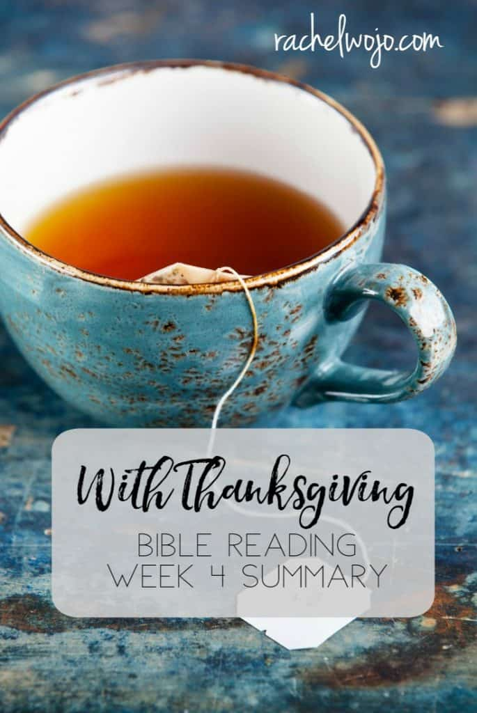 I pray that the reading this month has broadened your heart and mind to give thanks to the Lord more consistently! This month's Bible reading plan has been a tremendous blessing to me personally. It's Friday already this week so let's check out the With Thanksgiving Bible reading summary week 4.