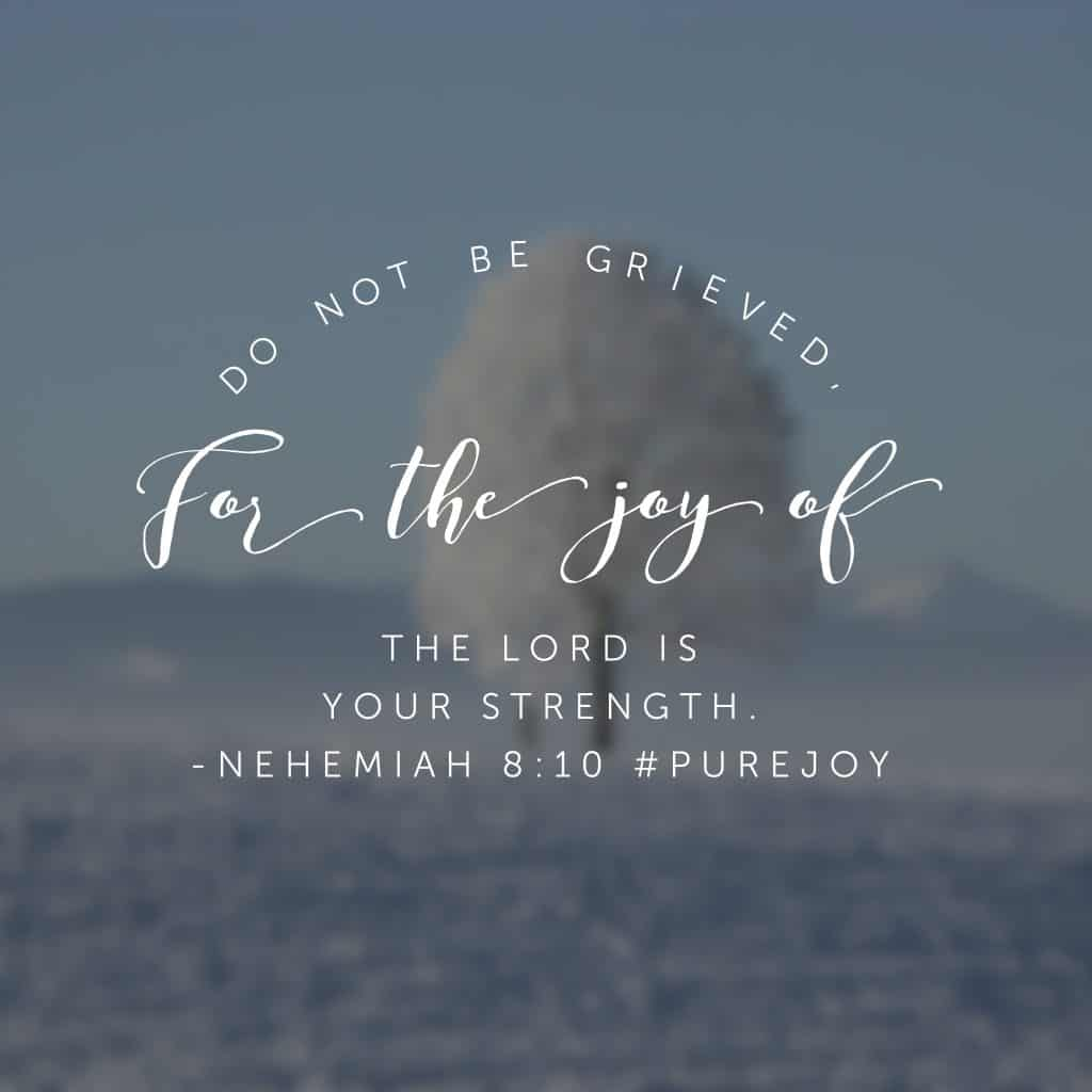 In our #purejoy#biblereadingplan today, the people wept as they heard the law. I believe they were completely overwhelmed because they knew it would be impossible to keep the law on their own. But Nehemiah reminds them they are not on their own. And neither are we! So let's take Wednesday by joy storm! #biblereading